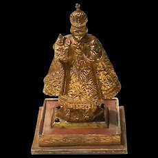 Antique Gilt Metal Infant Of Prague Figure, Circa 1900