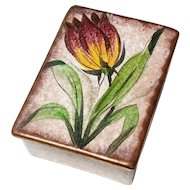 Early Vintage Signed Italian Pottery Box With Tulip, Circa 1923