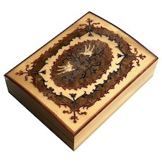 Vintage Italian Inlaid Wood Marquetry Music Box - Lullaby & Goodnight