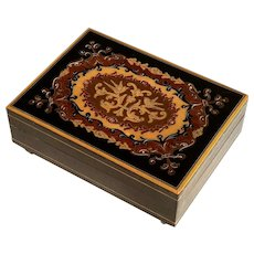 Vintage Italian Inlaid Wood Marquetry Music Box - Lara's Theme