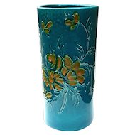 Vintage Italian Turquoise Pottery Floral Umbrella Stand, Circa 1960