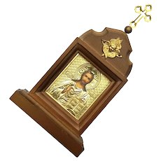 Vintage Wood Framed Gilt Metal Religious Icon With Cross