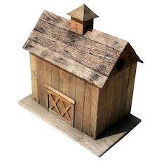 Vintage Folk Art Wooden Barn Birdhouse