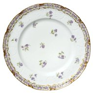 Antique Haviland Limoges Porcelain Pansy Plate, Circa 1888