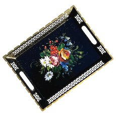 Small Vintage Hand-Painted Floral Metal Tole Tray
