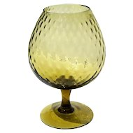 Vintage Hand-Blown Mexican Amber Glass Pedistal Compote