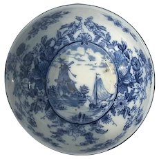 Early Vintage English Empire Ware Stoke On Trent Delft Pattern Bowl, Circa 1925