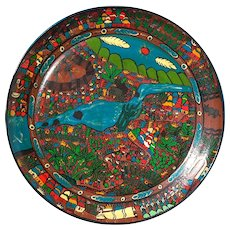Large Vintage Mexican Folk Art Painted Pottery Charger
