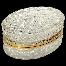 Large Vintage French Crystal Jewel Casket With Gilt Metal Mounts And Frosted Floral Bottom