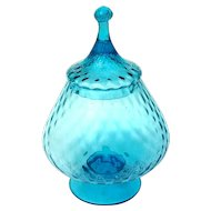 Vintage Mid-Century Hand-Blown Mexican Torquoise Glass Lidded Pedistal Bowl