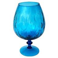Vintage Mid-Century Hand-Blown Mexican Deep Torquoise Glass Pedistal Bowl