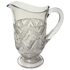Antique Early American Pattern Glass Triple Mold Pitcher