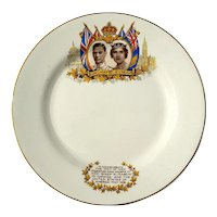 Vintage Royal Commemorative Plate Of King George VI And Queen Elizabeth, Circa 1939