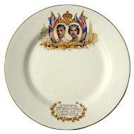 Vintage Royal Commemorative Plate Of King George VI And Queen Elizabeth, Circa 1939