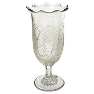 Antique Early American Pattern Glass Triple Mold Celery Vase