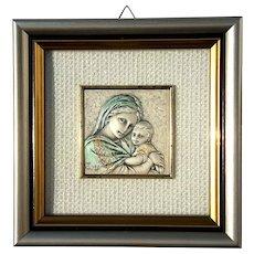 Vintage Framed Italian Sterling Silver Madonna And Child