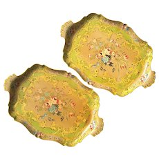 Vintage Pair Of Italian Style Lacquered Paper Mache Floral Serving Trays