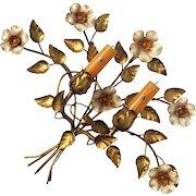 Vintage Italian Gilt Metal Floral Candle Holder Sconce