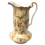 Large Antique English Crown Duval Ware Porcelain Pitcher, Circa 1910
