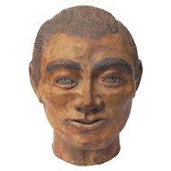 Signed Chinese Shiwan Stoneware Pottery Head