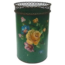 Vintage Tole Floral Painted Waste Can