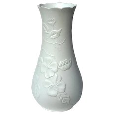 Signed Kaiser White Bisque Porcelain Dogwood Vase