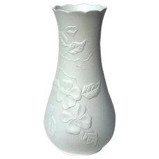 Signed Kaiser White Bisque Porcelain Dogwood Vase