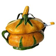 Vintage Portuguese Majolica Pottery Corn Tureen With Ladle