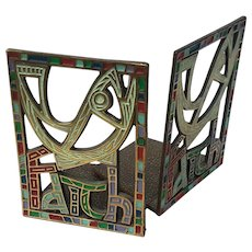Signed Vintage Pair Of Enameled Bronze Faith Bookends, Circa 1967