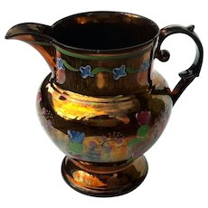 19th Century English Copper Luster Pottery Pitcher