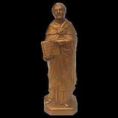 Vintage Gilt Metal Statue Of Saint Thomas Aquinas