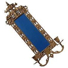 Antique Gilt Cast Iron Candle Sconce Mirror