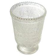 Signed Vintage Fenton Art Glass Frosted Satin Currier And Ives Farm Celery Vase