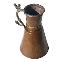 Antique Hand-Forged Copper Pitcher With Brass Handle