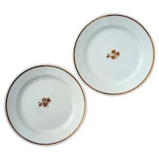 Pair Of Antique English Copper Luster Tea Leaf Ironstone Plates