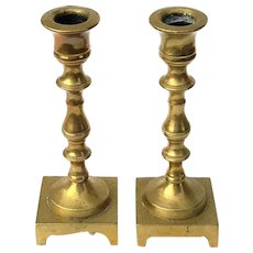 Antique Pair Of Miniature Brass Candlesticks