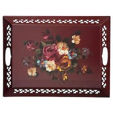 Vintage Hand-Painted Floral Metal Tole Tray