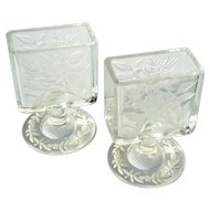 Vintage Pair Of Floral Etched Glass Business Card Holders