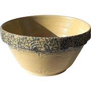 Extra Large Vintage Robinson Ransbottom Sponge Decorated Yelloware Mixing Bowl
