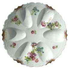 Antique Blackman & Henderson French Limoges Floral Oyster Plate