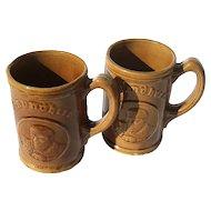 Vintage Pair Of Stoneware Gesundheit German Beer Stein Mugs