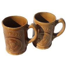 Vintage Pair Of Stoneware Gesundheit German Beer Stein Mugs