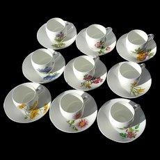 Early Vintage Set Of Nine Minton Porcelain Demitasse Floral Cups And Saucers