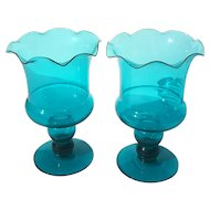 Vintage Pair Of Mexican Turquoise Glass Pedestal Candle Votive