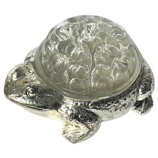 Vintage Silverplated And Glass Bullfrog Flower Frog