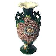 Early Vintage Signed Japanese Satsuma Moriage Handled Vase