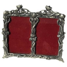 Vintage Pewter Double Picture Frame
