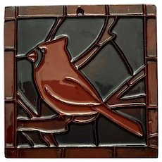 Signed Moravian Pottery Tile Of A Cardinal In A Tree
