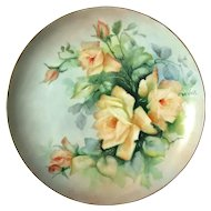 Antique Artist Signed Porcelain Rose Plate