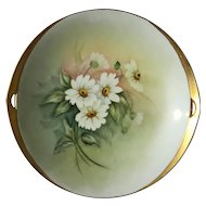 Antique Artist Signed Porcelain Daisy Floral Serving Plate